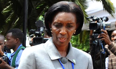 Rose Kabuye, aide to Rwandan president Paul Kagame, is pictured on November 7, 2008 during an emergency summit in Nairobi aimed at restoring stability in the conflict-torn eastern Democratic Republic of Congo (DRC). Rwandan President Paul Kagame's chief of protocol, Rose Kabuye, was arrested on November 9, 2008 in Germany under an arrest warrant issued by France, Germany's foreign ministry said. Kabuye is suspected of participating in the 1994 downing of a plane carrying former Rwandan president Juvenal Habyarimana. His death triggered a genocide. AFP PHOTO/SIMON MAINA (Photo credit should read SIMON MAINA/AFP/Getty Images)