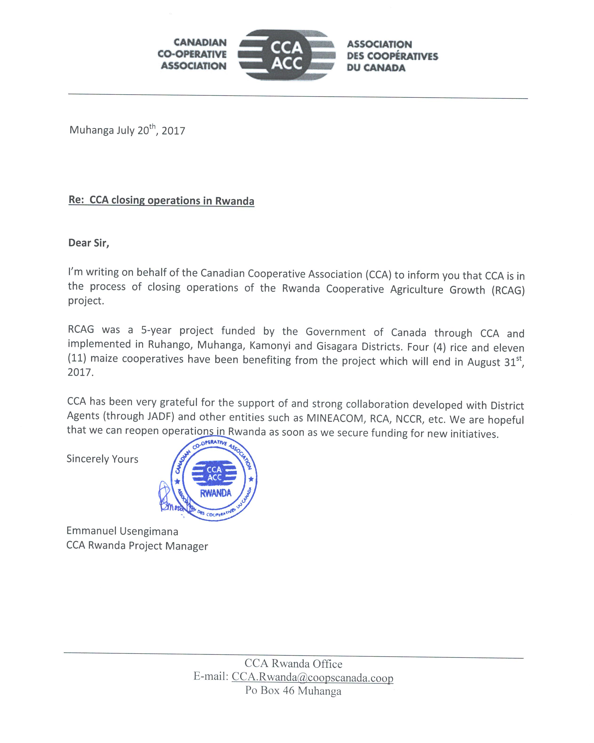 CCA Notice updated