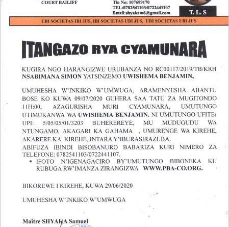 itangazo rya cyamunara